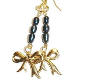 40% OFF SALE Dark Blue Freshwater Pearl and Golden Bow Earrings