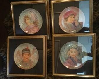 The Nobility of Children Series by Artist Edna Hibel 4 Plates Framed 2 Girls, 2 Boys