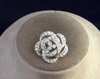 Vintage Rhinestone Rose Pin