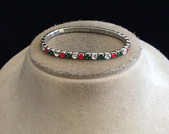 Vintage Clear Red & Green Rhinestone Christmas Bracelet