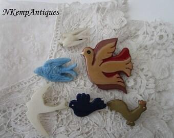 Vintage bird brooch x 6