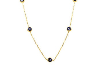 14K Solid Gold Good Luck   Evil Eye  Necklace OG173