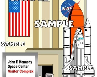 John F. Kennedy Space Center Nasa Space Shuttle Digital Scrapbook Scrapbooking Embellishment Download PNG Format