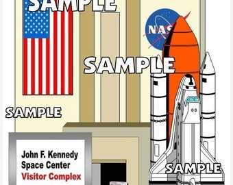 ON SALE - John F. Kennedy Space Center Nasa Space Shuttle Scrapbook Paper Embellishment Die Cut Piece Piecing