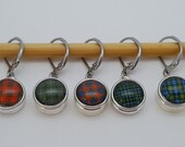 Outlander Themed MINI Crochet Stitch Markers Tartan Thistles NOOSA Style Snap Charms