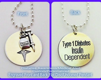 Diabetes, Type 1 Diabetes, Type 2 Diabetes, Juvenile Diabetes, Insulin Dependant, Diabetes Awareness, Metal Disc, Medicine and Syringe Charm