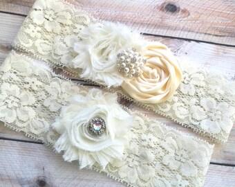 Bridal Garter Ivory, Wedding Garter Ivory, Ivory Garters, Ivory Wedding Garter Set, Ivory wedding garters, Lace garters, Ivory lace garters