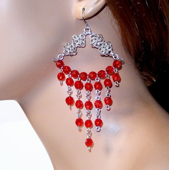 Items similar to Red and silver chandelier earrings, long ...