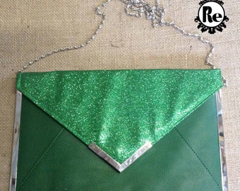 Vintage Purse 1980s Green Glitter Clutch Purse  with Green Vinyl and Silver Metal Edging and Chain No. 18