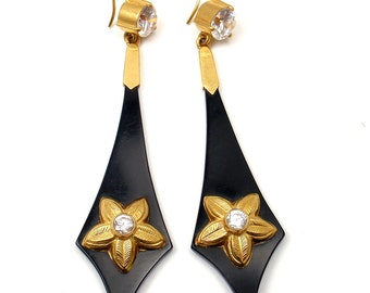 One Of A Kind! Vintage Depy Chandris 22k Yellow Gold Bakelite Crystal Earrings