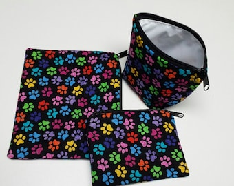 Reusable Sandwich Bag Set, Paw Prints, Snack Bags,Reusable Lunch Baggies,Gadget Bags, Make-Up Bags,Washable,Nylon Lining, Zipper Closure.