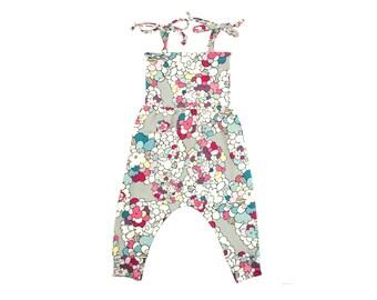 Baby Harem Romper, Toddler Harem Romper in Pop Art Floral, Girls Romper, Baby Romper, Toddler Romper, Harem Romper, Baby Girl Romper