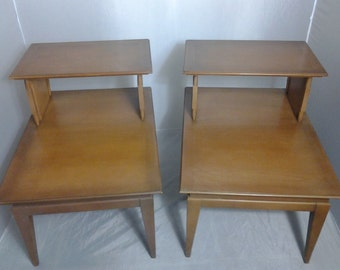 Mid-Century Umbrian 2-Tier Side Tables - A Pair/ ON SALE