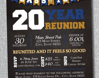 Chalkboard Class Reunion Invitation with Banner - Digital File Only