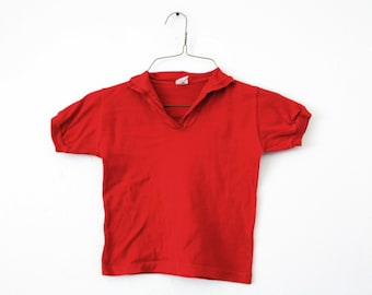 YOUTH 6 Vintage 1970s Buster Brown Red Collar T-Shirt