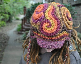Freeform Crochet earflap hat with bill in 2 variations