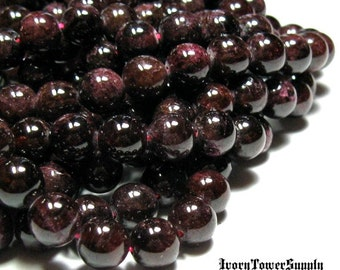 1 Strand 8mm Garnet Beads, Gemstone Beads, Natural Stone Beads, Red Beads, Semi Precious Beads, Round Beads
