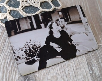 Real photo wallet insert card, engraved wallet card, custom wallet insert, your picture engraved on one side and message on the back