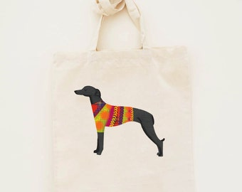 Cotton Tote Bag Italian Greyhound Illustration - Custom Name Personalised Canvas Cotton Tote Bag - Write Any Name