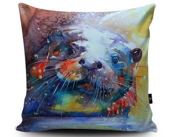 Otter Cushion, Otter Pillow, Otter Gift, Otter Cushion Cover, River Pillow, Otter Home Decor Bedding, Animal Cushion, 45cm/60cm by Liz
