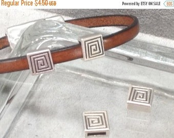 On Sale NOW 25%OFF Spiral Square Sliders For 5mm - 6mm Flat Leather Antique Silver Z1333 Qty 4