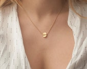 Small circle necklace, Organic shape jewelry, Small dics necklace in gold, boho chic