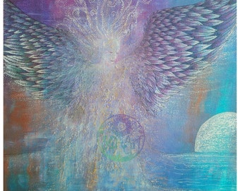 Brighter Than Moonlight print, angel in moonlight, guardian angel, angel of peace, celestial being of light, Archival quality print