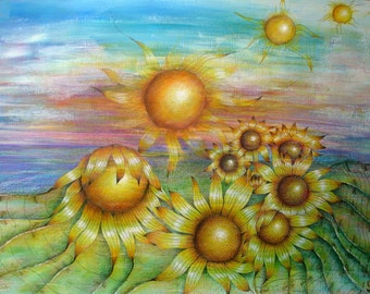 Sunflower landscape fine art print of high quality pencil drawing on pastelmat, yellow sunflowers in nature, circle art, mounted
