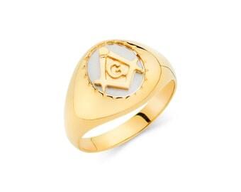 14K Yellow Gold Mason Ring, Mason Ring, Mason Jewelry, Pinkie Ring, Masonic Ring, Masonic Jewelry, Gold Ring, Mens Ring, Mens Jewelry, Ring