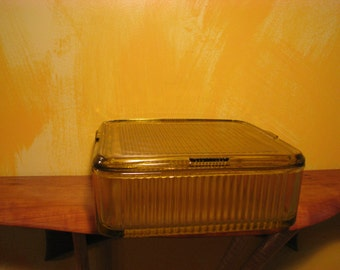 Vintage Large Yellow Depression Glass Refrigerator Dish
