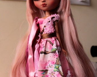 OUTFIT SAKURA - Handpainted dress and accessories