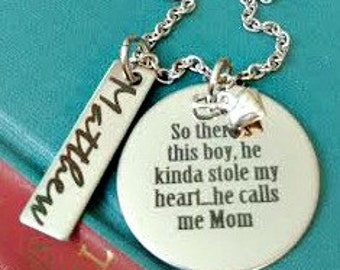Mother Son Engraved Personalized Mom Necklace - So There's This Boy