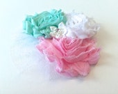 Girls Hair Clip or Head Band, Hair Bow, Shabby Chiffon Hair Clip, Pink Aqua and White, Pastels, Made to Match by 8th Day Studio