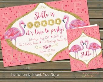 Flamingo Invitation and/or Thank You Notes / Pink Flamingos / Pink & Gold Invitation