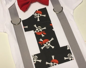 Pirate first birthday onesie with bow tie and suspenders