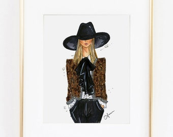 Fashion Illustration Print, Saint Laurent, 8x10""