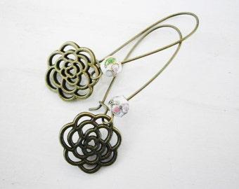 White Round Cloisonne Bead with Antique Bronze Filigree Flower On Long Antique Bronze Kidney Wire Earring Hooks/Dangle Earrings/Boho Jewelry