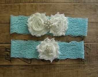 Aqua Blue Wedding Garter / Wedding Garter / Bridal Garter / Toss Garter / Vintage Inspired / Garter Set / Lace Garter