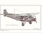 "Ford ""Tri-Motor"" 5-St-D by Roy Andersen 9x12 Lithograph Plus BONUS Postcard and FREE SHIPPING"