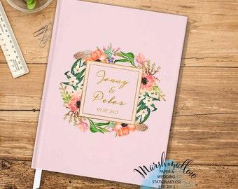 Custom Guest Book Wedding Guest Book, Wedding Sign In Guestbook Sign In Book, Wedding Gift Pink Guest Book, Faux Gold Guest Book Keepsake