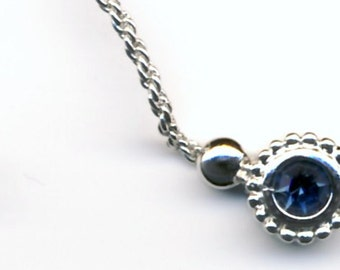 Signed Christian Dior Rhodium Necklace with Montana Blue Crystal Pendant New (D)