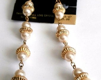 """Swarovski Savvy Clip Earrings with Imitation Pearls 4 1/4"""" long  New (D)"""