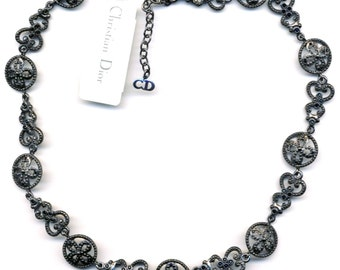 Christian Dior Signed Jet Black Gunmetal Plated Crystal set Necklace  (D)