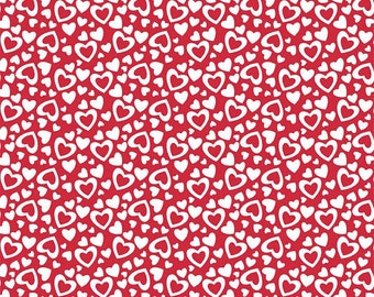 Riley Blake White Hearts on Red--1 yard--C561 Holiday Banners