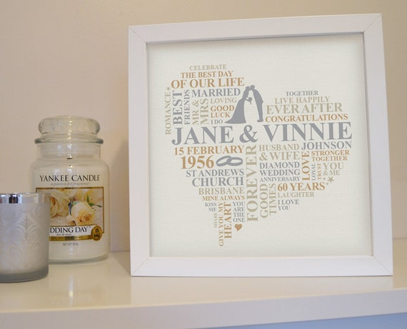 60 Years Wedding Anniversary Gifts: Framed 60th Anniversary Print. Diamond Anniversary Gift. 60th