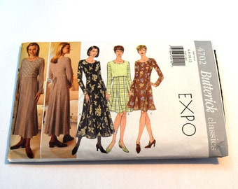 Vintage 1990s Butterick 4702 zip back loose fitting flared dress above knee or ankle length dress sewing pattern