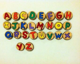 Alphabet wood slice magnets