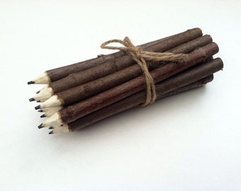 Set of 10 Rustic twig pencils