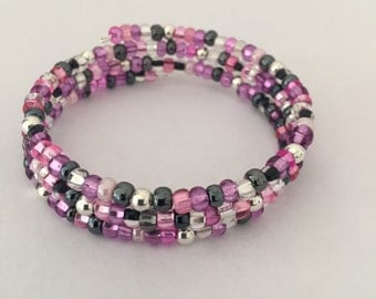 Glass and Silver Bead Memory Wire Bead Bracelet
