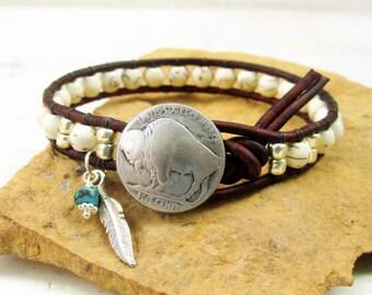White Turquoise Buffalo Nickel Single Wrap Bracelet with Eagle Feather ~ Western Jewelry ~ Western Boho Bracelet ~ Cowgirl Jewelry - Unisex